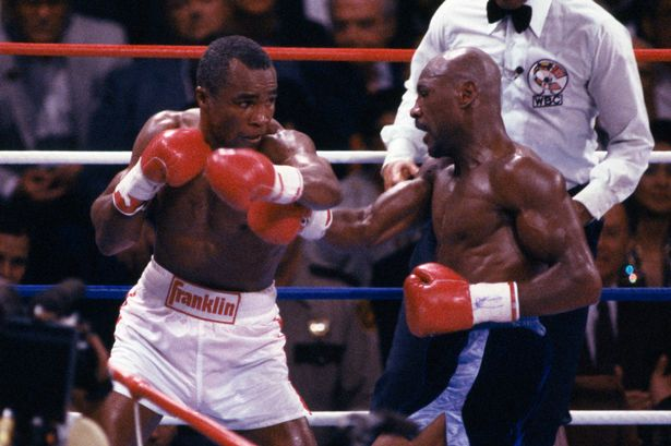 Sugar Ray Leonard (L) and ) Marvelous Marvin Hagler (R) square off in their 1987 Super Fight.