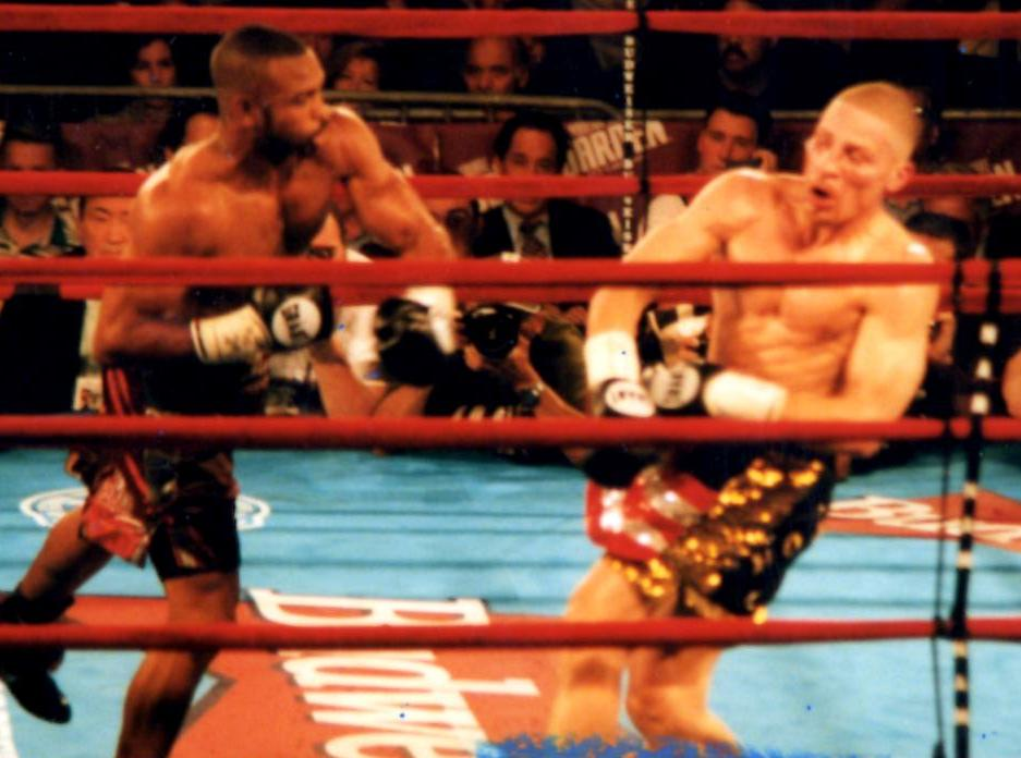 Roy Jones Jr defeats Lou Del Valle by UD 12 on Jul 18, 1998in Madison Square Garden, New York City, New York, and retained WBC light heavyweight title (Photo by Alex Rinaldi)