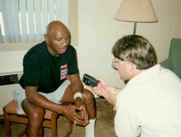 Alex Rinaldi interviewing the great middleweight king Marvelous Marvin Hagler.