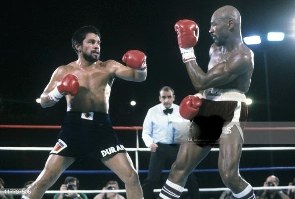 World Junior Middleweight Champion Roberto Duran (L) and World Middleweight Champion Marvelous Marvin Hagler going to toe to toe.