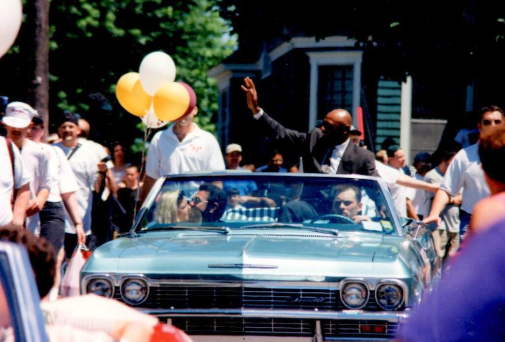 Hagler in the parade on his induction into the Boxing Hall of Fame in 1993.
