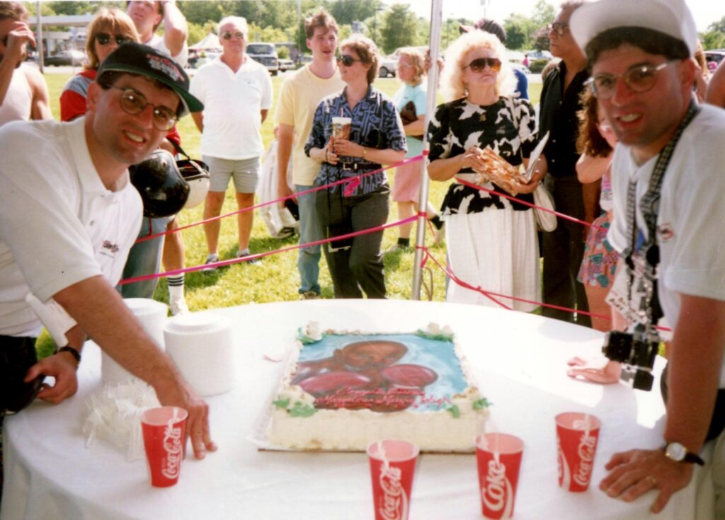 John and Alex Rinaldi at the Marvelous Marvin Hagler celebratory cake at the 1993 Hall of Fame Induction ceremony.