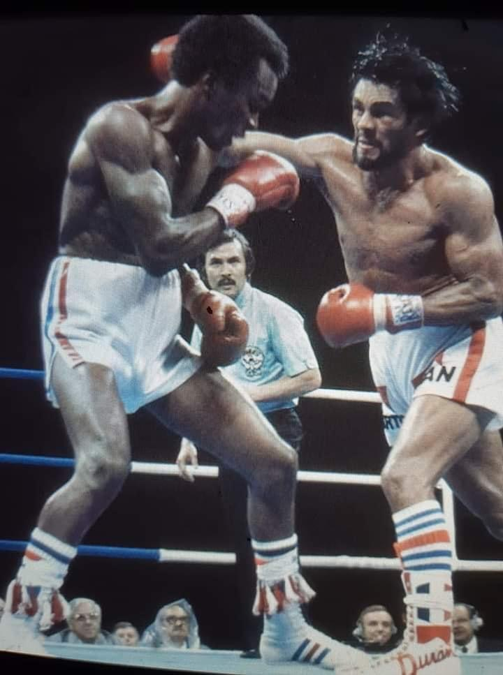 Roberto Duran on the attack against Sugar Ray.